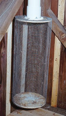 Tipping can nest box trap for starlings and house sparrowsthe holding cage in the barn